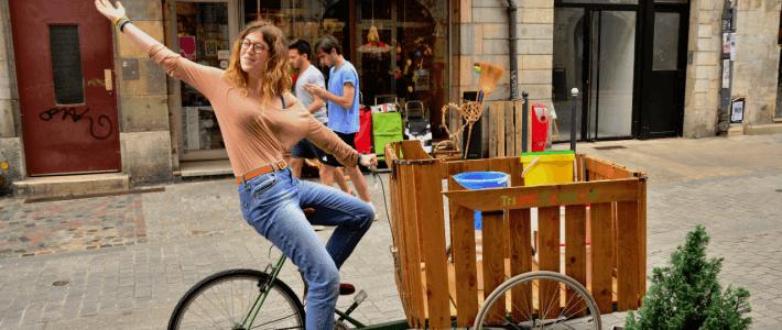 Notre vélo charette est réparé, prêt à aller collecter le marc de café !